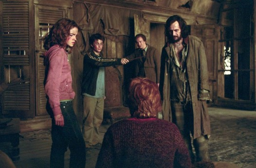 "From left to right: EMMA WATSON as Hermione Granger, DANIEL RADCLIFFE as Harry Potter, DAVID THEWLIS as Professor Lupin, GARY OLDMAN as Sirius Black and RUPERT GRINT as Ron Weasley (back to camera) in Warner Bros. Pictures' ""Harry Potter and the Prisoner of Azkaban."" PHOTOGRAPHS TO BE USED SOLELY FOR ADVERTISING, PROMOTION, PUBLICITY OR REVIEWS OF THIS SPECIFIC MOTION PICTURE AND TO REVMAIN THE PROPERTY OF THE STUDIO. NOT FOR SALE OR REDISTRIBUTION"